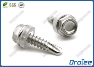 China 304/316/410 Stainless Steel Hex Washer Self-Drilling Tek Screw W/ Plastic Washer on sale
