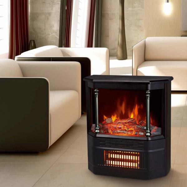 Mobile Electric Fireplace Heater Log Flame Effect Roman Pillar