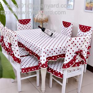 Quality Cotton Red Dot Tablecloth And Chair Cover Set For 6 Seater, China  Factory For ...