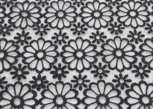 China Embroidered Dying Lace Fabric Floral Lace Organza Polyester Fabric For Dresses on sale