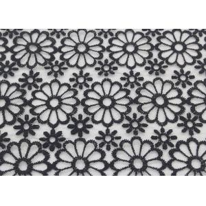 China Black Embroidered Lace Fabric Floral Lace Organza Polyester Fabric For Dresses on sale