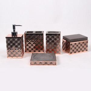 China Five Pcs Rose Concrete Bathroom Accessories Hollow Out For Living Decoration on sale