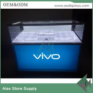China MDF android cell phone counter display showcase design for sale VIVO mobile counter supplier