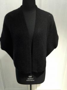China Open Cashmere Cardigan Sweater for Women  , Short Sleeve Black Poncho Sweater OEM on sale