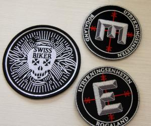 China Round Velcro Custom Embroidered Patches , embroidered name patches on sale