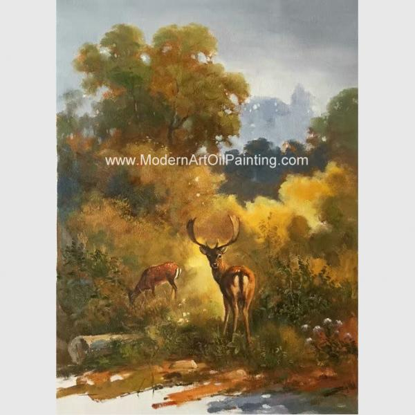 Canvas Classic Animal Oil Painting , Two Deer Framed Wall Art 24\