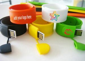 China Silicone Wristband Slap Band Bracelet USB Flash Drive on sale