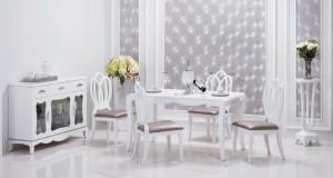China Simple Lines Contemporary Dining Room Furniture Beautiful Pure White Color on sale