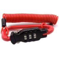 Ø3.0mm  Security Red PVC Coated Steel wire 3 Digits Combination Retractable Helmet Cable Lock