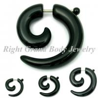 Black UV Acrylic Fake Spiral Ear Tapers With 16G For Wedding / Party