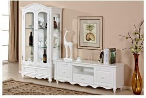 China Living Room Long White Wood TV Stand Cottage Style With Deep / Shallow Drawers on sale