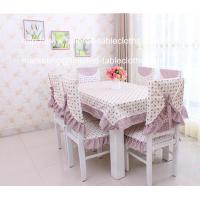 Cotton floral table cloth and chair cover set for six seater table,