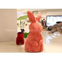 Large Size Shopping Centre Decorations Fiberglass Animal Statues Cover With Fake Flower