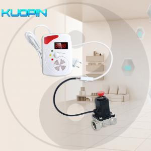 China Wireless Voice Prompt Flash Siren LPG Natural Gas Leak Sensor with Auto Shut Off Solenoid Valve Combustible Gas Detector on sale