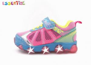 China Colorful Girls Light Up Flashing Trainers Bungee Laced With One Strap Synthetic Upper on sale