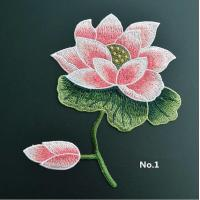 Large Embroidered Flower Patches , Sew On Embroidered Appliques On Lace Fabric