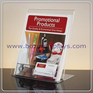 China Slant-back Clear Acrylic Literature Holder With Business Card Pocket on sale