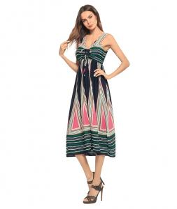 China 60AA0128 2018 V Collar Printed Bohemian Long Beach Skirt on sale
