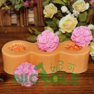 China 2012 new zibo nicole flower ball silicone molds for soap candle DIY rubber molds on sale
