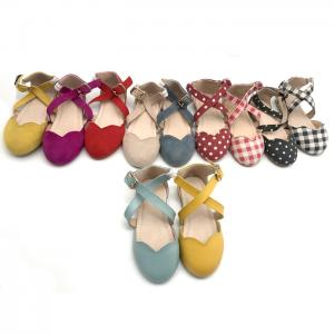 China Ballet Flats Ankle Strap Size23-30 Leather Baby Walking Shoes on sale