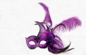China Unique Colombina Purple Feather Masquerade Mask For Christmas on sale