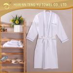 Luxury kimono 100% cotton white velour robe for hotel bathroom