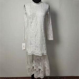China Long Sleeves Ladies Elegant Dresses , Straight Fit Crochet Lace Flower Girl Dress on sale