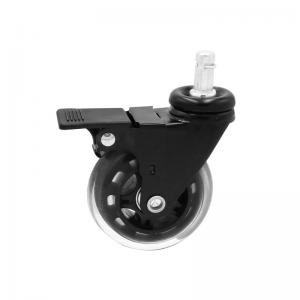 China Lockable Non Marking Office Chair Caster Wheels For Hardwood Floors PU 75mm on sale