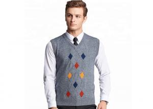 China Autumn Mens Knit Sweater Plaid Pattern Intarsia Regular Sleeve Sweater Vest on sale