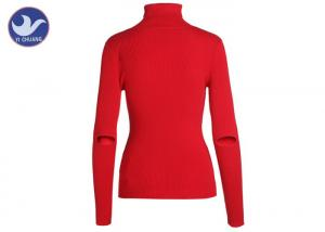 Quality Classic Long Sleeves Turtle Neck Knitted Jumper Elbow Slit Ribbed Knitwear Anti for sale