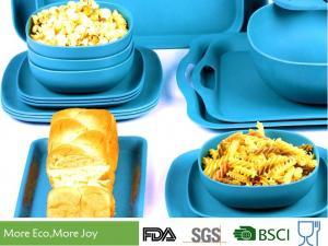 Quality Dishwasher safe Shatter-proof Bamboo Dinnerware Solid Sky Blue Color Natural for sale