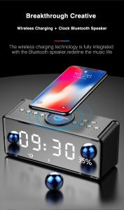 China Bluetooth Clock Hifi Speaker with Wireless Charging QI FM RADIO AUX  TF Card Music Player Support from NEWGOOD on sale