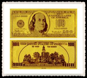Full set USD 24k gold Engrave banknote , gold plated 100