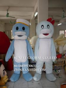 China small head sailor dolphin mascot costume/customized fur sea animal mascot costume on sale
