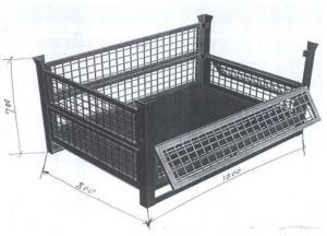 China Movable Steel Pallet Cages 0.6 Cubic Meter Volumn Drop Gate Brake Wheels on sale