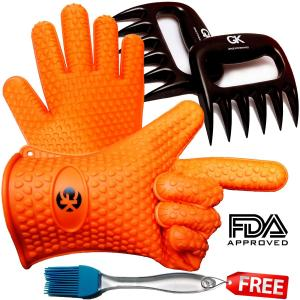 China Orange Outdoor Silicone Kitchen Utensil Set Heat Resistant Silcone Gloves Set on sale