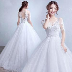 China Fashion Half Sleeve Open back Appliques wedding dress gowns for Bridal, Girls, Women LXHS-1338 on sale