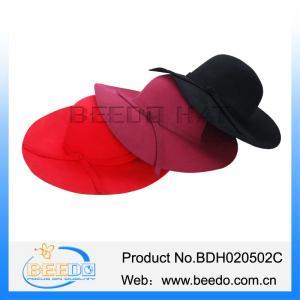 China 100% australian wool felt wide brim floppy hat for ladies on sale