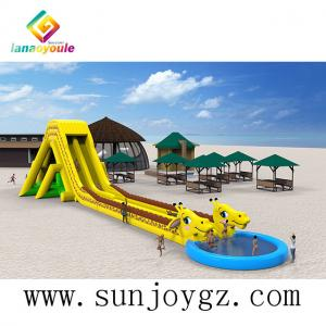 China Giraffe Theme Water Slide Inflatable Cartoon Long Water Games  Park For Outdoor Activity on sale