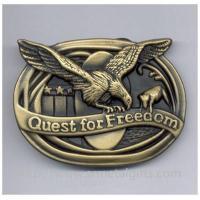 Retro classic antique brass American eagle emblem belt buckle for men belt, zinc alloy.