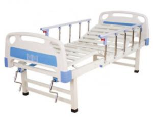 China Metal Two Function Manual Hospital Bed With Side Rails and Overbed Table on sale