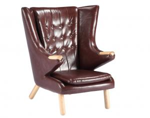 China Living Room Leather Lounge Chair / Papa Bear Chair Soft Feeling With Ottoman on sale
