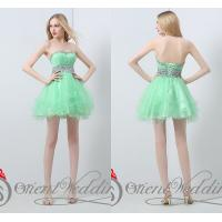 Strapless Mini Homecoming Dresses Beading Crystals / Sequins