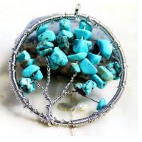 Blue Gemstone Beaded Jewelry Tree Of Life Birthstone Pendant For Jewellery Beading Kit