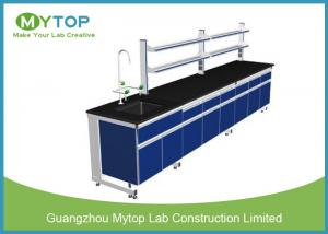 China Steel And Wood Lab Wall Bench With Storage Plywood Cabinet Aluminum Reagent Rack on sale