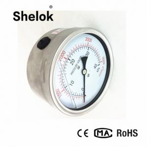 China Stainless steel kpa mmH2O 304SS copper dual scale micro vacuum capsule pressure gauge on sale