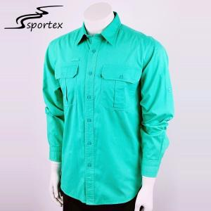 China Custom Logos Casual Outdoor Clothing Chest Pocket Green Long Sleeve Shirts on sale