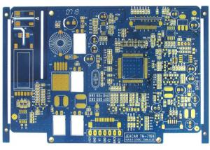China Blue 4 Layer FR4 Flash Gold Bare Rigid PCB Board Fabrication High Precision on sale