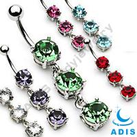 Body Piercing Jewelry Dangled Belly Ring Peridot Siam Belly Ring Gem Dangled