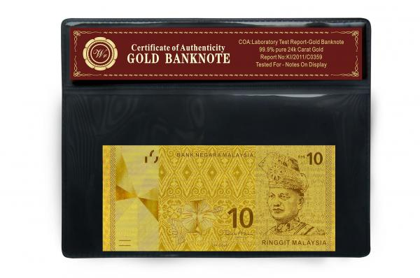 Newest Bill 24 Carat Gold Banknote Gold Plated Malaysia 10 Ringgit